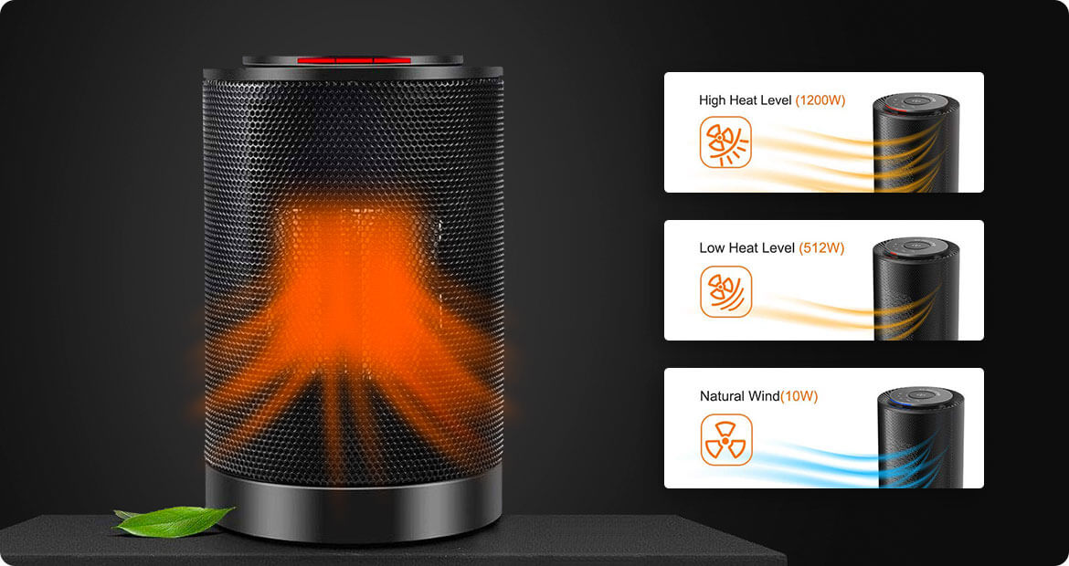 EcoHeat S Revolutionary Portable Personal Ceramic Heater With a Sleek,  Modern Design.