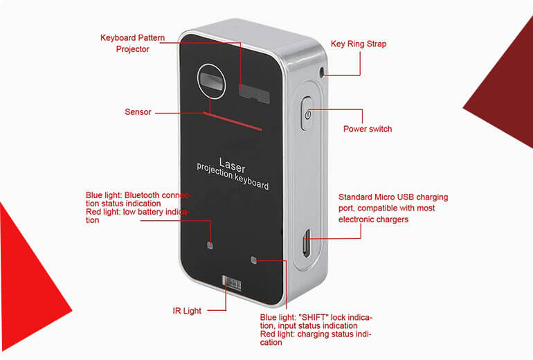 Keyless PRO Wireless Laser Projection Bluetooth Virtual Keyboard